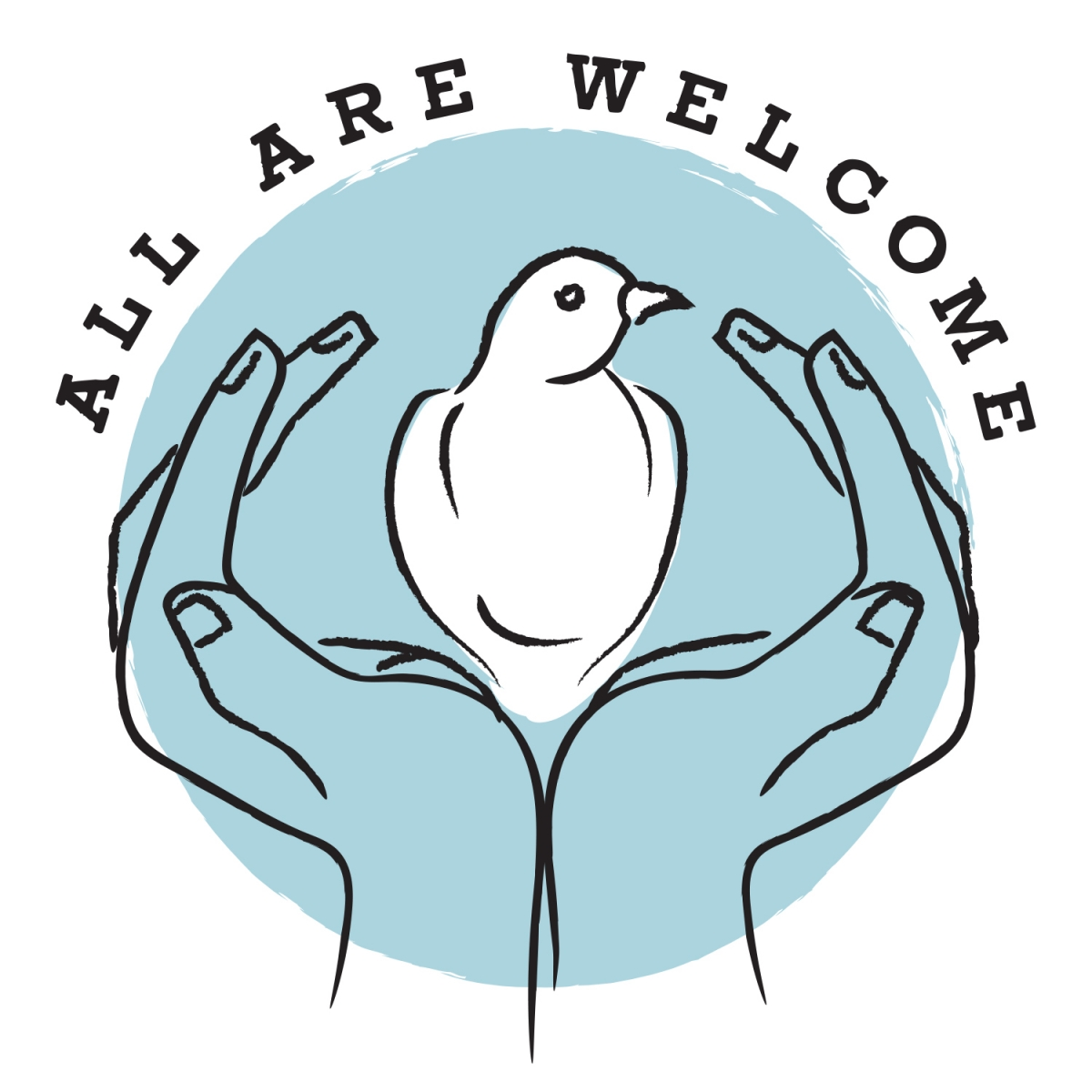 All Are Welcome Two Hands Holding Dove