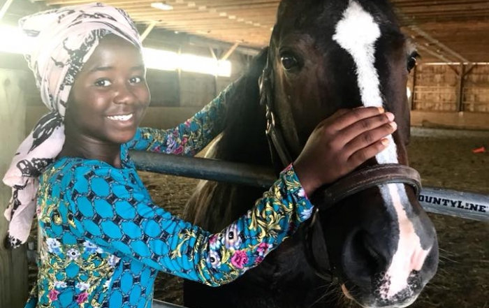Grooming horses at Merrymac Farm